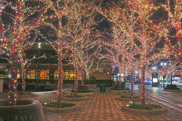 Winter Christmas-Hanukkah holiday outdoor lights on trees downtown stock photo