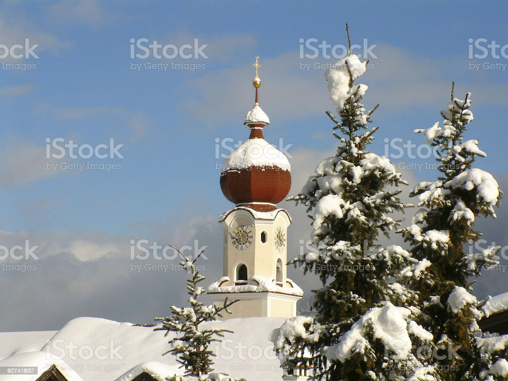 Winter Church and trees royalty-free stock photo