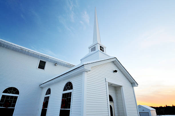 winter church perspective - mike cherim stock pictures, royalty-free photos & images