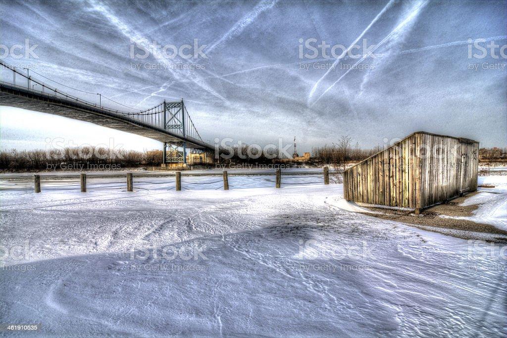 Winter City Bridge stock photo