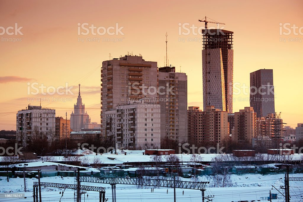 Winter cityscape at dusk royalty-free stock photo