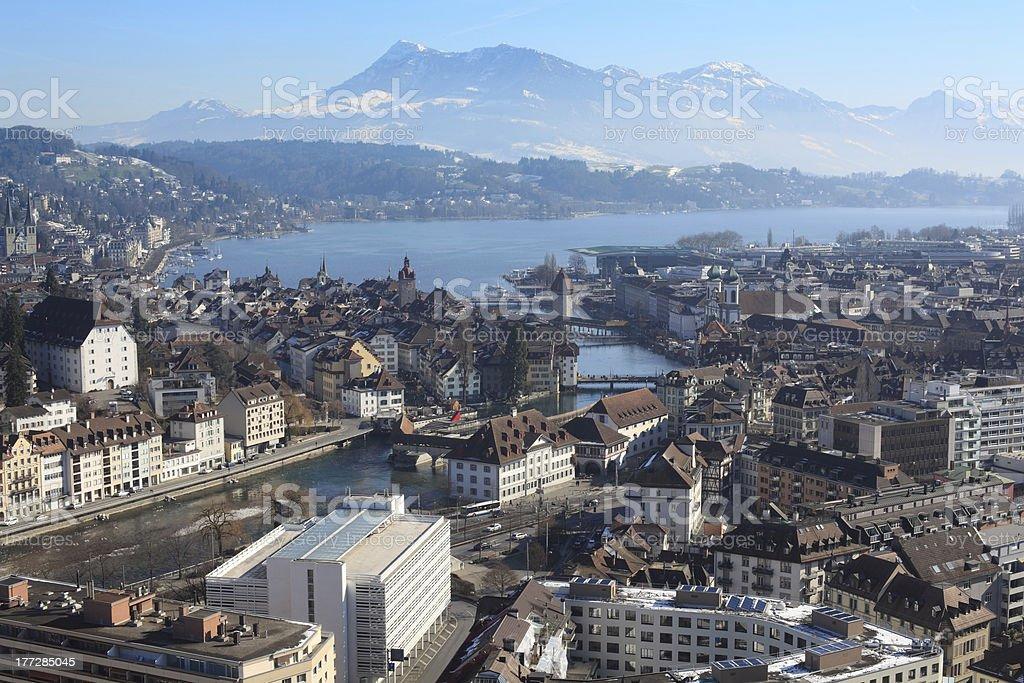 Winter cityscape of Lucerne Switzerland stock photo