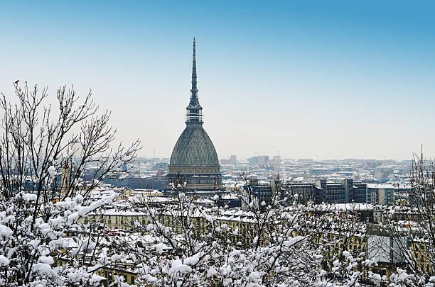 Winter cityscape of Torino stock photo