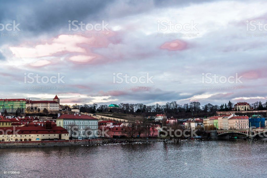 Winter clouds over Prague stock photo