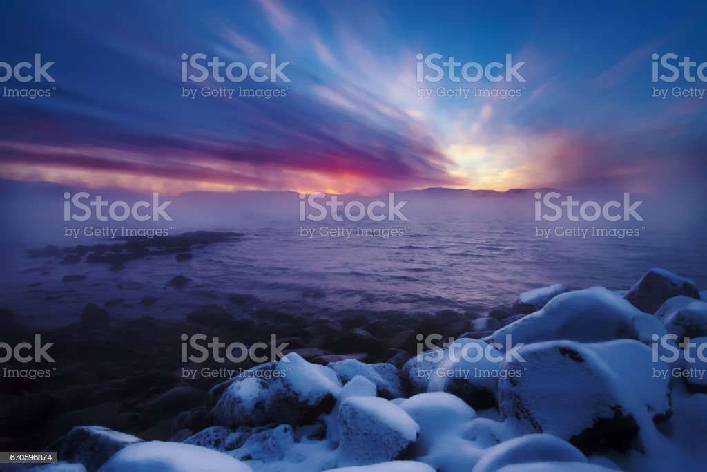 Winter coast of Barents Sea. Kola Peninsula, Russia stock photo