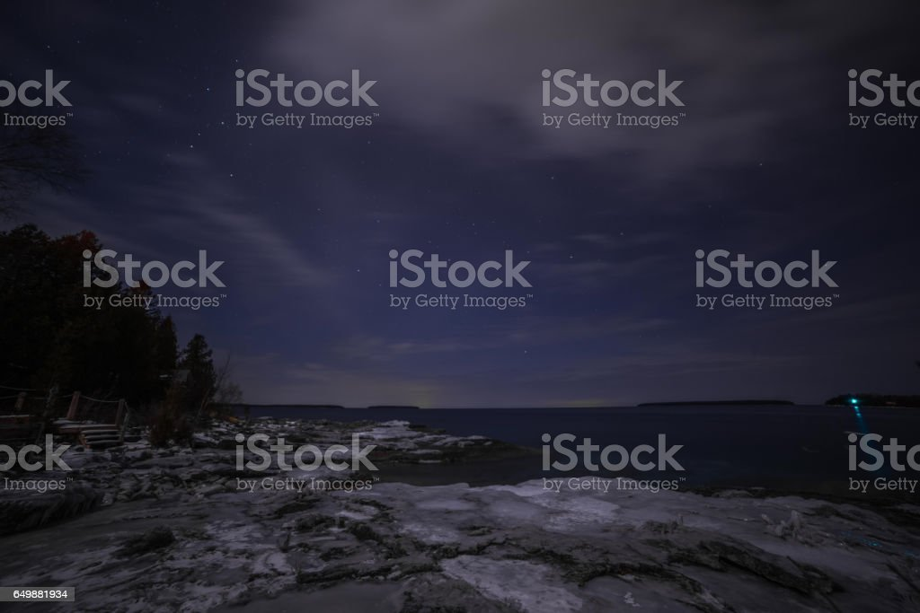 Winter coastline landscape at night from Tobermory stock photo