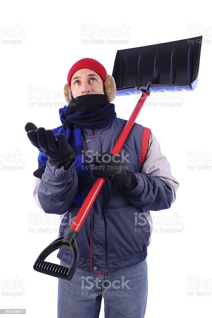 Abrigo de invierno hombre con pala: Comprobación de nieve foto de stock libre de derechos