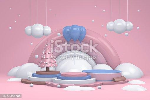 istock Winter concept on empty podium 1077038704