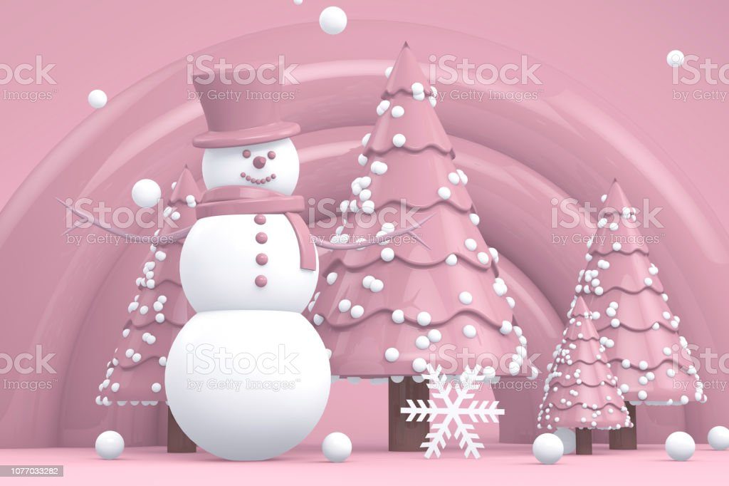 Winter concept with Snowman and Snowy Pine Tree royalty-free stock photo