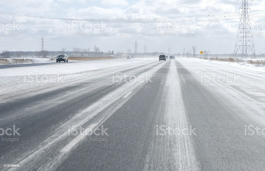 winter condition driving. stock photo