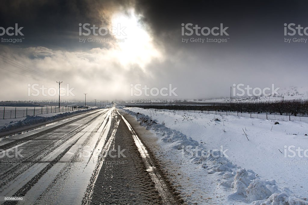 Winter country road stock photo