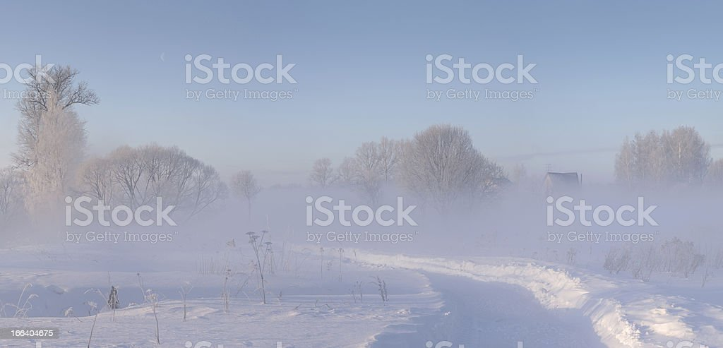 winter countryside covered with snow and hoar at morning royalty-free stock photo