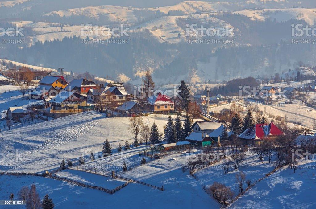 Winter countryside landscape stock photo