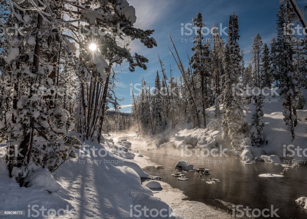 Winter creek with snow forest and sun star stock photo