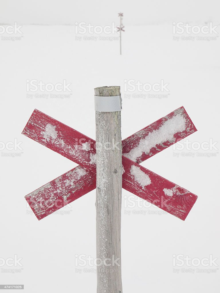 winter cross country route mraked with red crosses stock photo