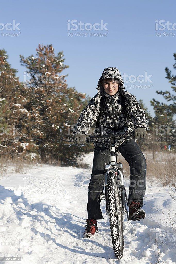Winter Cyclist stock photo
