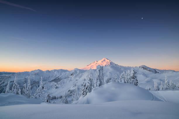 Winter Dawn on Mountain Baker stock photo