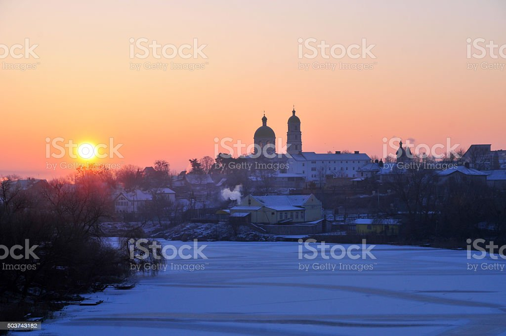 Winter dawn. Panorama of the river Ros. stock photo