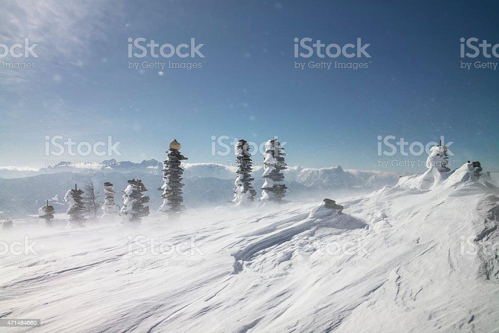 Winter day in Carinthia stock photo