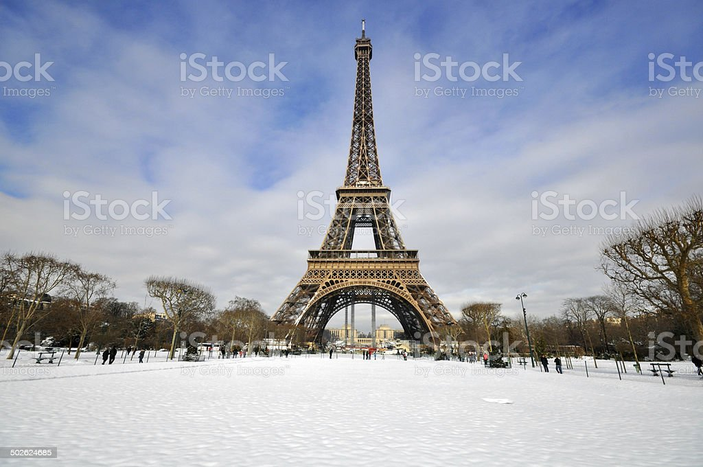 Winter day in Paris stock photo