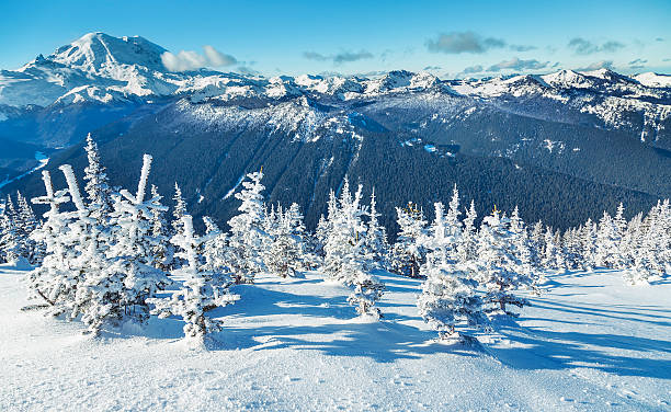 Winter Day in the Mountains stock photo