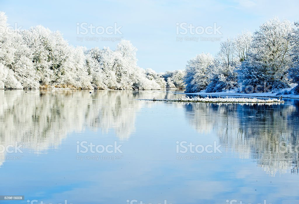 Winter day on the river stock photo