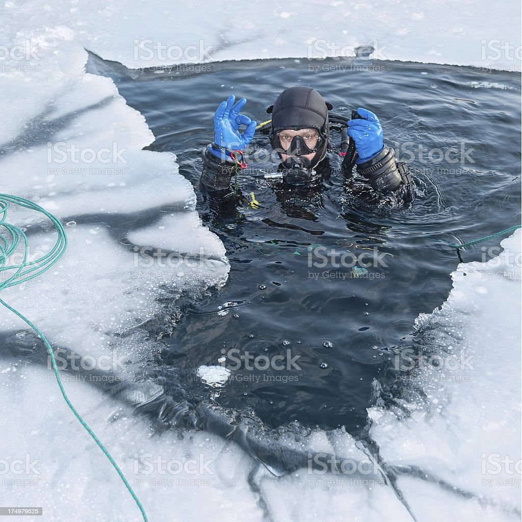 Winter diving stock photo