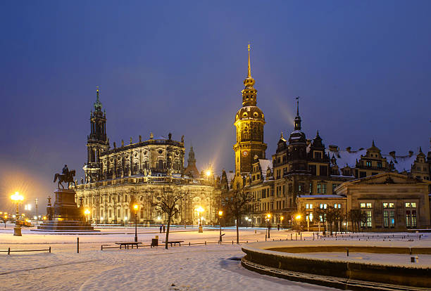 Winter Dresden after sunset Old buildings of Dresden in the winter night. zwanger stock pictures, royalty-free photos & images