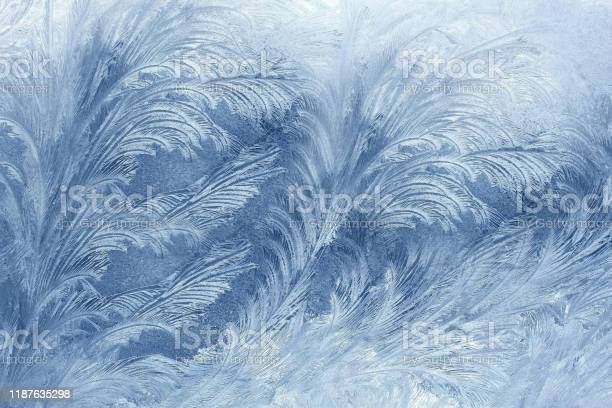 Photo of Winter drew an icy pattern on the window in the form of a flower .Texture or background.