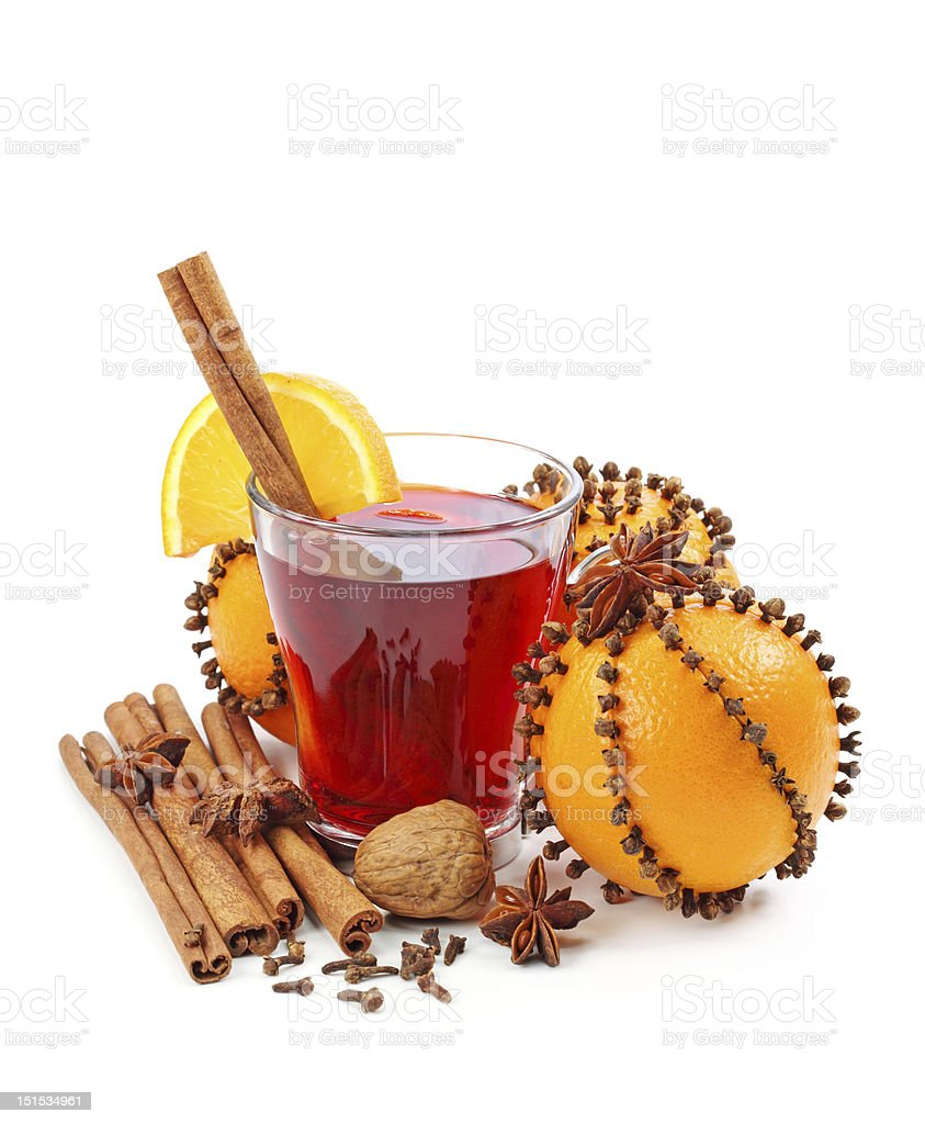 Winter drink with oranges and cloves royalty-free stock photo