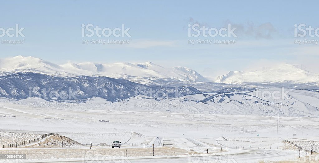 Winter Driving, Big Horn Mountains royalty-free stock photo