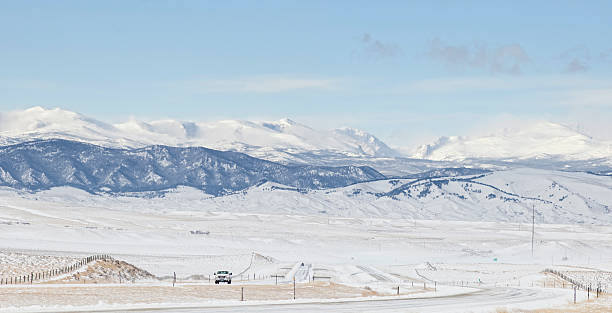 Winter Driving, Big Horn Mountains stock photo