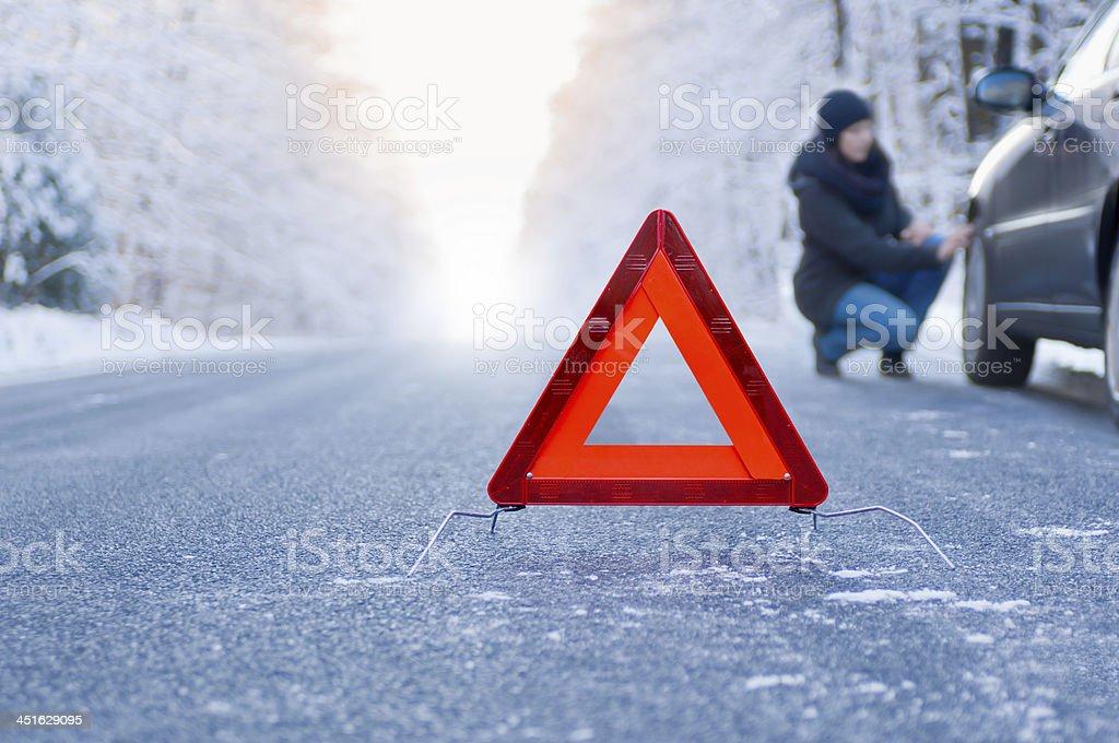 Winter driving - car breakdown foto