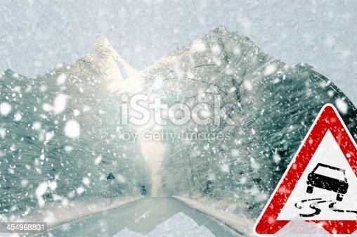 482803237istockphoto Winter driving - caution 454968801
