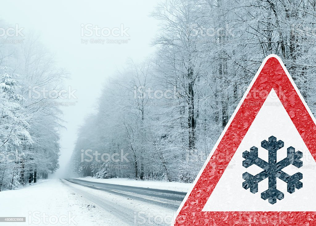Winter Driving - Caution stock photo