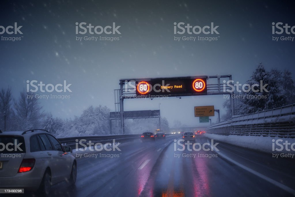 Winter Driving Conditions stock photo