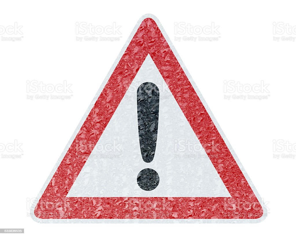 Winter Driving - Ice Covered Warning Sign - Caution stock photo