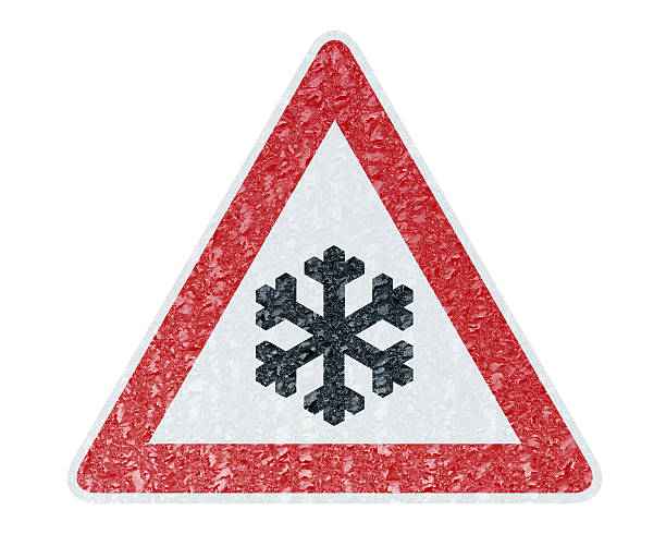 Winter Driving - Ice Covered Warning Sign - Caution Snow stock photo