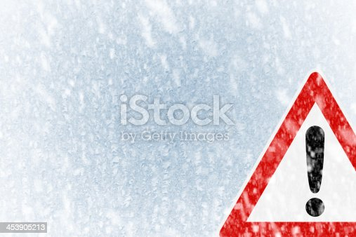 istock Winter driving -  ice covered windshield with copy space 453905213