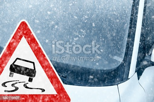 482803237istockphoto Winter Driving - Ice Covered Windshield with Warning Sign 530119507