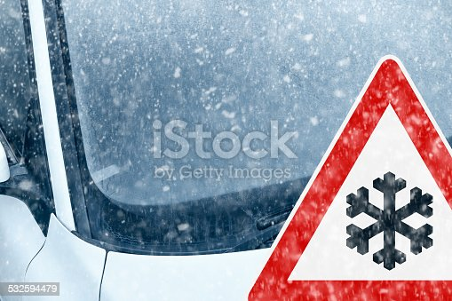 482803237istockphoto Winter Driving - Ice Covered Windshield with Warning Sign 532594479