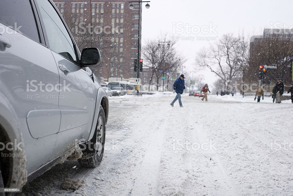Winter Driving in Montreal, Pedestrian Crossing royalty-free stock photo