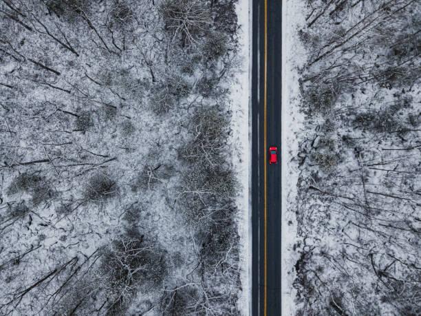 Paysage de conduite d'hiver - Photo