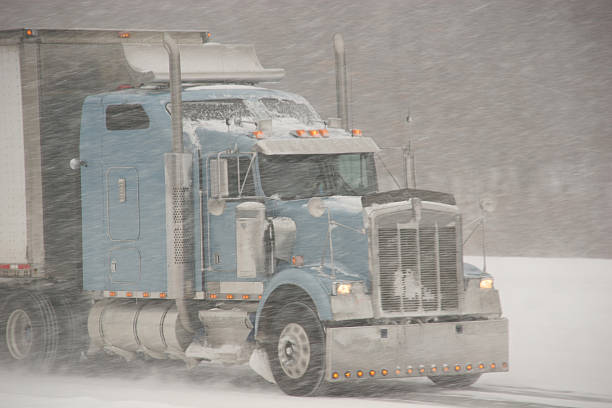 Winter Driving - Transport Truck stock photo