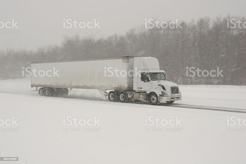 Winter Driving - Transport Truck royalty-free stock photo