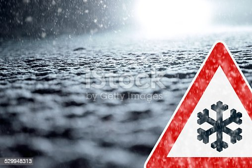 482803237 istock photo Winter Driving - Winter Road - Caution Snow 529948313