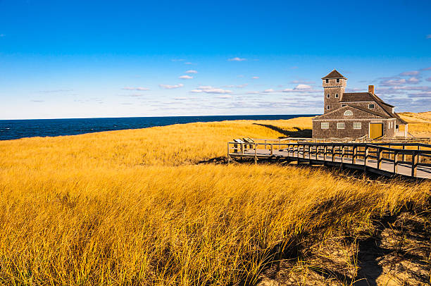 Winter Dune Grass The Old Harbor Lifesaving Station (1897) is surrounded with a sea of beach grass covered sand dunes over looking Race Point Beach  in Provincetown, Massachusetts. The Station was built in  to rescue sailors  who ran aground on the offshore rocks during storms. provincetown stock pictures, royalty-free photos & images
