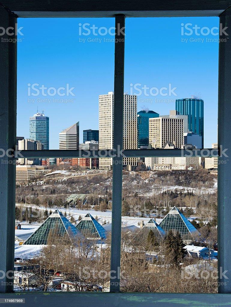 Winter Edmonton Through Window royalty-free stock photo