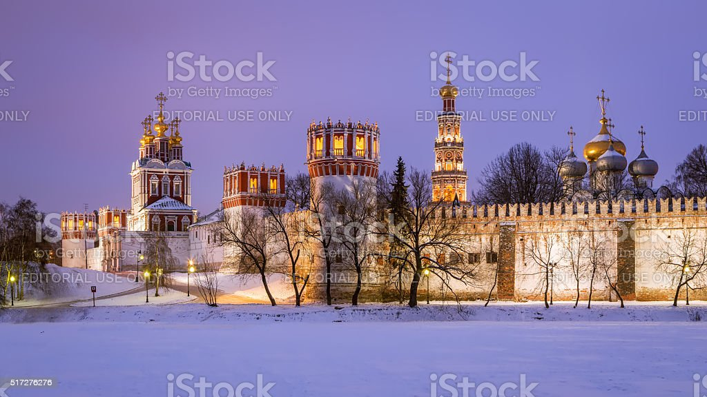 Winter evening at the Novodevichy Convent stock photo
