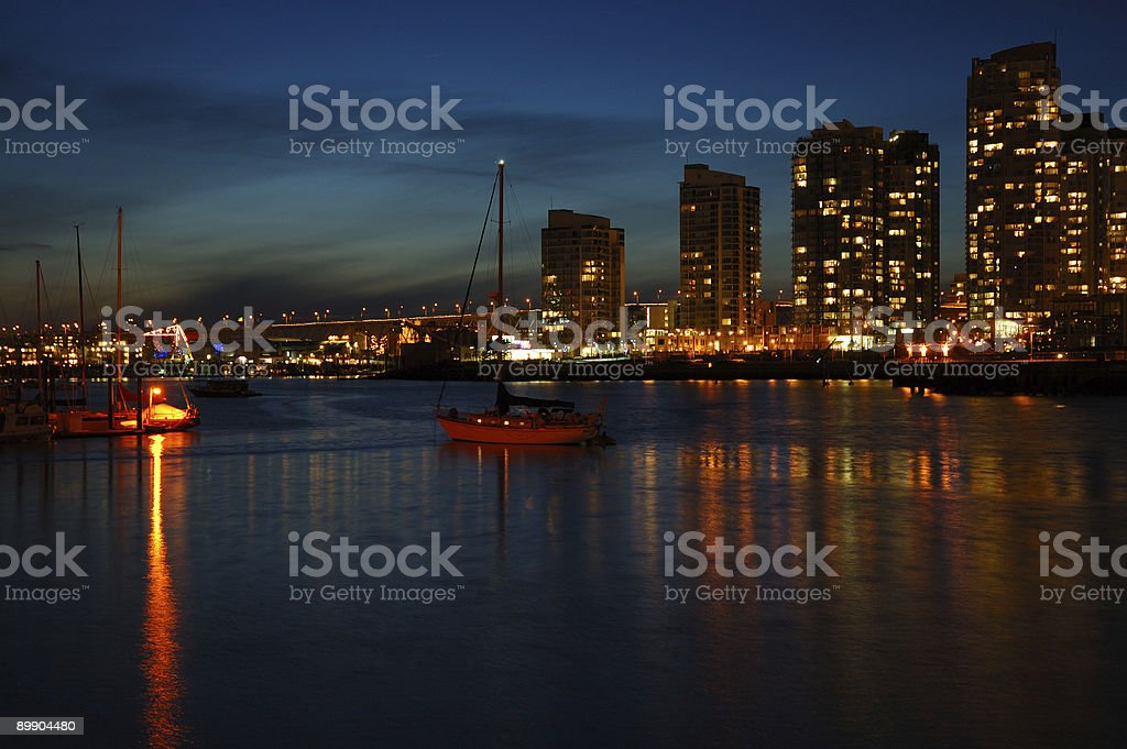Noche de invierno de Vancouver foto de stock libre de derechos